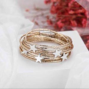 Gold Five Stars Muti-Layered Bracelet